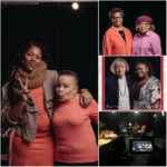 "All of the participants had portraits taken of them to be included in the exhibit. Left: Kamre Williams (left) and Helga ""Petie"" Johnson. Top Right: Best friends Ann Jenkins (left) and Elaine Mobley. Center: Panel portrait of Alyce Rawlins (left) and Amara McNeil. Bottom Right: Filming in progress. Portraits by Miceli Productions."