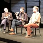 Playwright Dan O'Brien (center) and Photojournalist Paul Watson (right) discuss 'The Body of an American' and coping with the effects of PTSD with Dr. Harold Schwartz from the Institute of Living at Hartford Hospital.